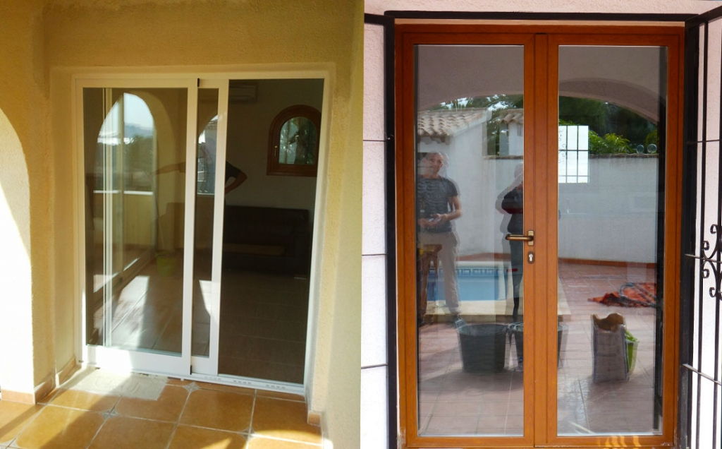 Aluminium sliding door and double opening glass door