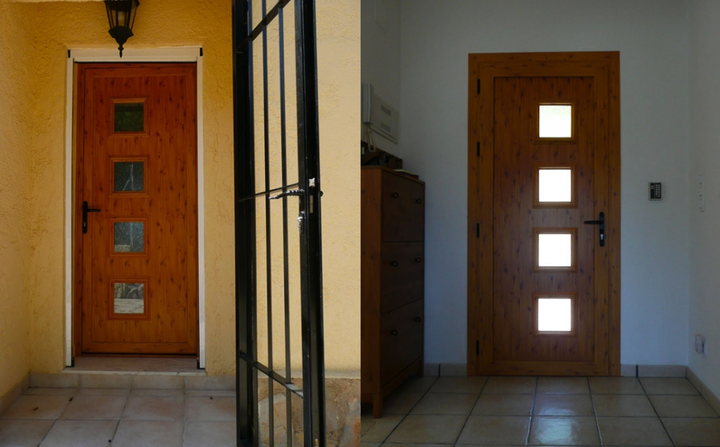 Entrance door wood grain with glass inserts
